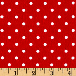 Timeless Treasures Flannel Dot Red