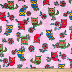 Timeless Treasures Flannel Owls Pink Fabric