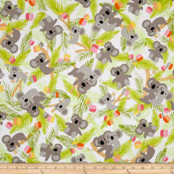 Kanvas Koala Baby Koalas In Trees White/Lime Fabric