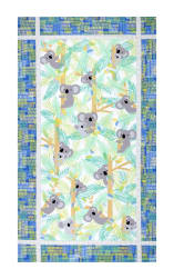 "Kanvas Koala Baby Flannel Koala Baby 23.5"" Panel Royal/Jade"