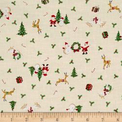 Under The Christmas Tree Character Toss Cream Fabric