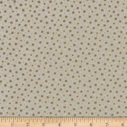 Under The Christmas Tree Stars Metallic Gold Fabric