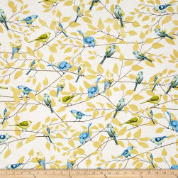 Timeless Treasures Fly Away Metallic Birds On Branches Cream