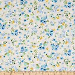 Timeless Treasures Fly Away Small Tossed Flowers Cream