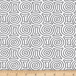 Timeless Treasures Kinfolk Spiral Maze White Fabric