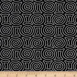 Timeless Treasures Kinfolk Spiral Maze Black Fabric
