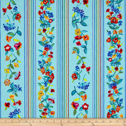 Timeless Treasures Gazebo Floral Stripe Aqua Fabric