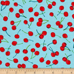 Timeless Treasures Gazebo Cherries Aqua Fabric