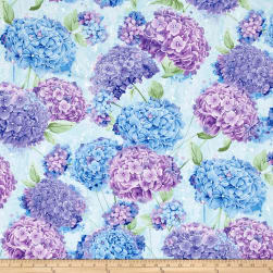 Timeless Treasures Harmony Allover Hydrangea Sky Fabric
