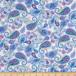Timeless Treasures Harmony Paisley White Fabric