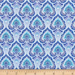 Timeless Treasures Dutchess Metallic Packed Medallion Blue Fabric