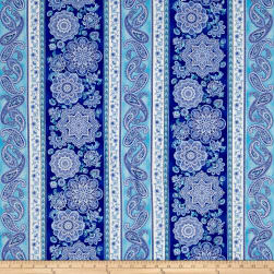 Timeless Treasures Dutchess Metallic Medallion Stripe Blue Fabric