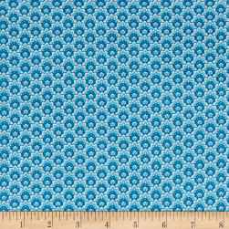 Timeless Treasures Dutchess Metallic Scallop Turq Fabric