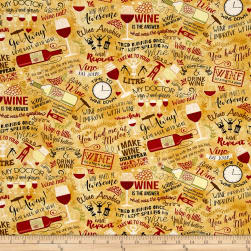 Timeless Treasures Wine Words Tan Fabric