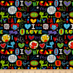 Timeless Treasures I Love My Cat Brite Fabric