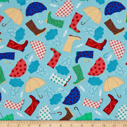 Timeless Treasures Rainboots & Umbrella's Sky Fabric