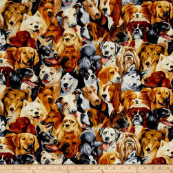 Timeless Treasures Stacked Dogs Dog Fabric