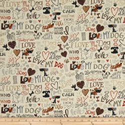 Timeless Treasures I Love My Dog Cream Fabric