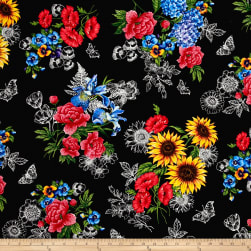 Timeless Treasures Garden Journal Spaced Bouquets Black Fabric