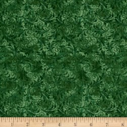 Timeless Treasures Garden Journal Tonal Filigree Green Fabric