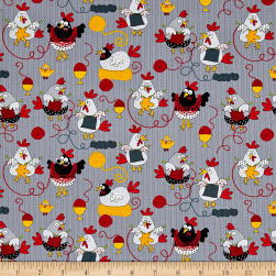 Timeless Treasures Knitting Chickens Grey Fabric