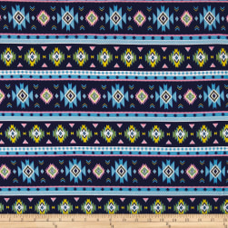 Fabric Merchants Cotton Spandex Jersey Knit Aztec Blue/Multi