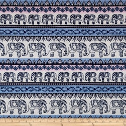 Merchants Cotton Spandex Jersey Knit Elephants Cream/Pink/Blue