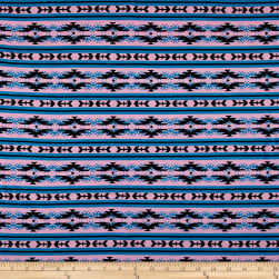 Cotton Spandex Jersey Knit Aztec Pink/Blue/Black Fabric