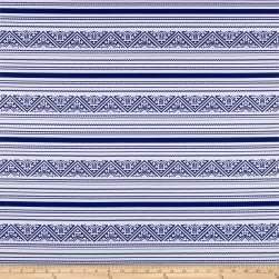 St. Maarten Swimwear Knit Aztec Blue/White Fabric