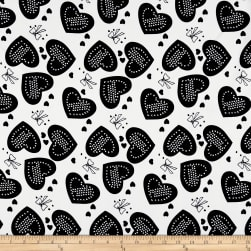Polyester Crepe Hearts & Bows White/Black Fabric
