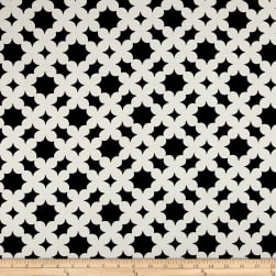 Polyester Crepe Clovers Black/White Fabric