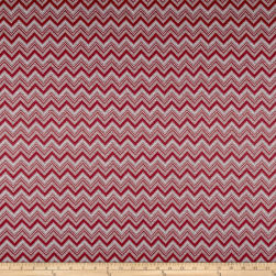 Polyester Rayon Double Knit Chevron Red/Grey Fabric