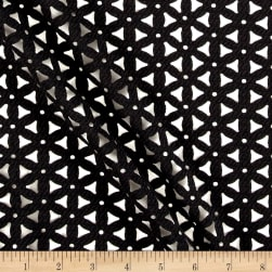 Laser Cut Textured Knit Mesh Black Fabric