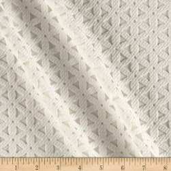 Laser Cut Textured Mesh Knit White Fabric