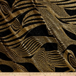 Dancewear Metallic Glitter Knit Gold/Black Fabric