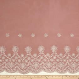 Embroidered Rayon Challis Double Border Rose/Ivory