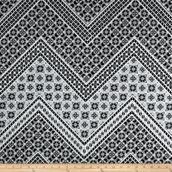Cotton Stretch Sateen Patterned Chevron Black/Ivory Fabric