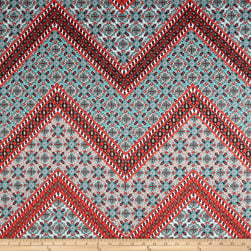 Cotton Stretch Sateen Chevron Coral/Aqua Fabric