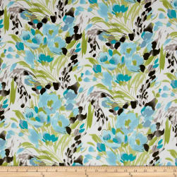 Crepe de Chine Floral Ivory/Riviera Fabric