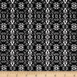 Stretch Poplin Medallion Black/Ivory Fabric