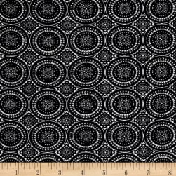 Rayon Stretch Bengaline Round Medallion Black/Ivory Fabric