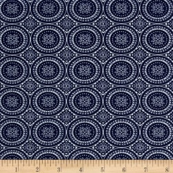 Rayon Stretch Bengaline Round Medallion Navy/Ivory Fabric