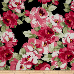 Stretch Poplin Floral Black/Flamingo Fabric