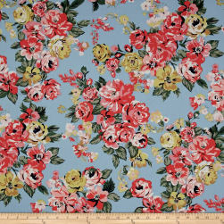 Stretch Poplin Floral Light Sky/Coral Fabric