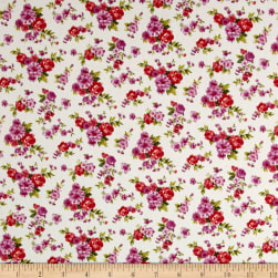 Cotton Stretch Poplin Floral Snow White/Orchid Fabric