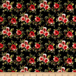 Cotton Stretch Poplin Floral Black/Red