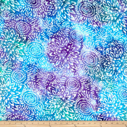 Cotton Jersey Knit Abstract Sunflower Purple/Blue/Teal Fabric