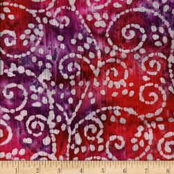 Indian Batik Crinkle Cotton Scroll Red/Purple Fabric