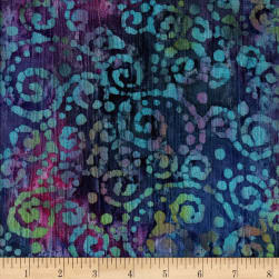 Indian Batik Crinkle Cotton Scroll Purple Fabric