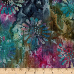 Indian Batik Crinkle Cotton Floral Teal/Wine/Multi Fabric